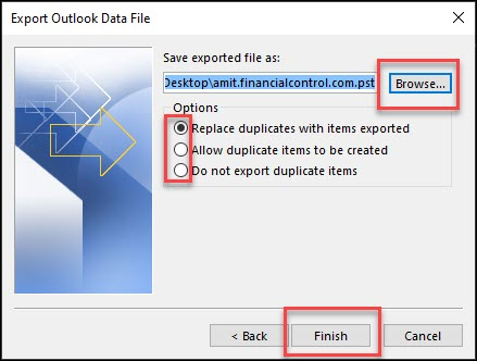 Export outlook data file options