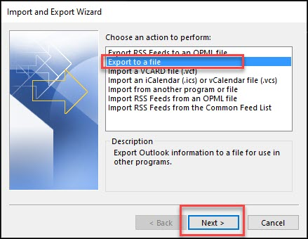 Export to the file popup