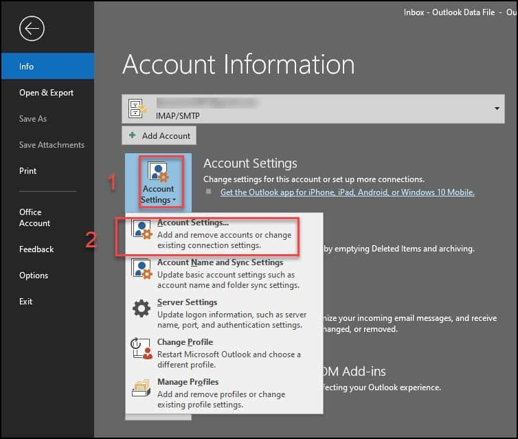 File tab account settings