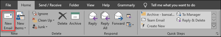 New mail home tab
