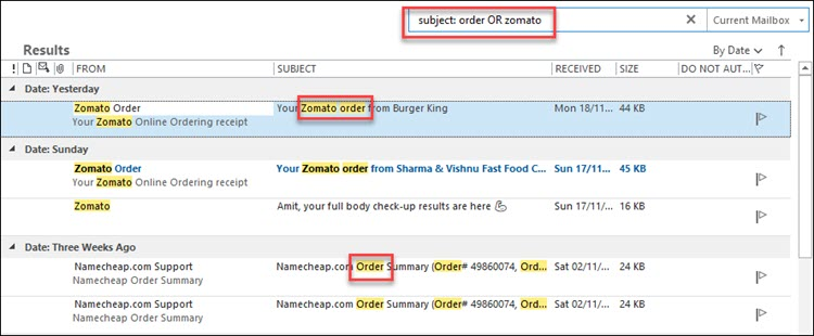 Search Multiple Keywords outlook