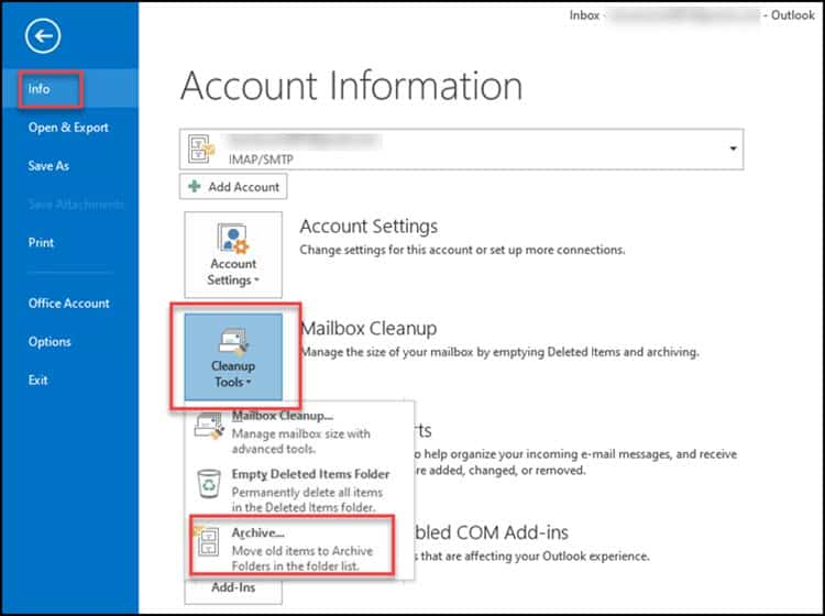 account information archive tab outlook