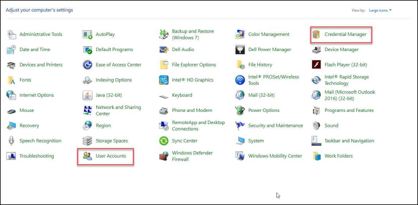 credential manager outlook