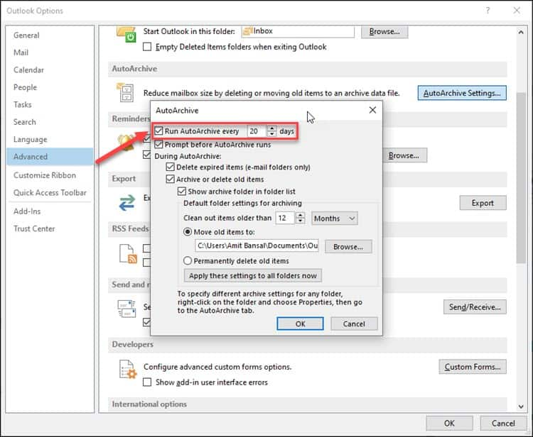 outlook options run autoarchive