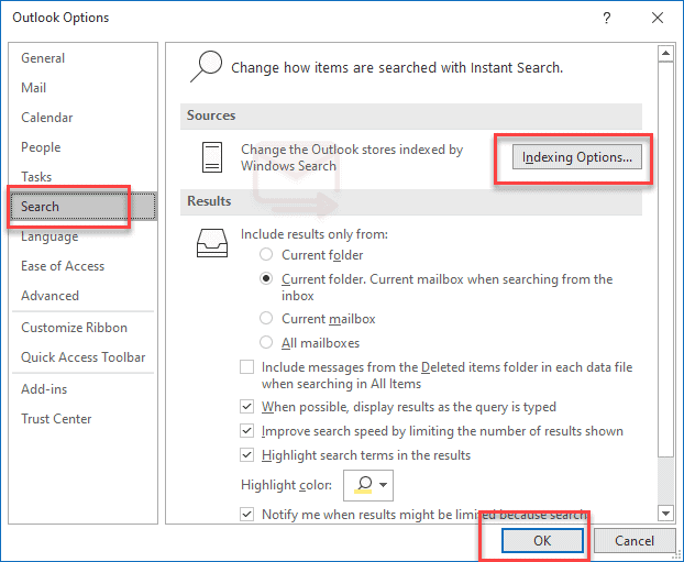 outlook search option