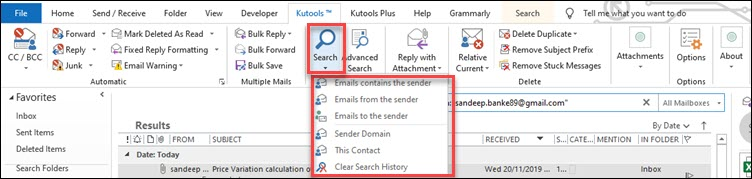 search option kutools outlook