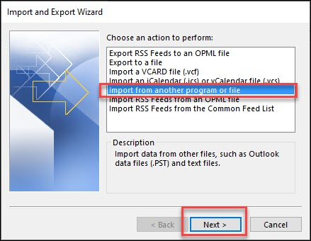 Import outlook files