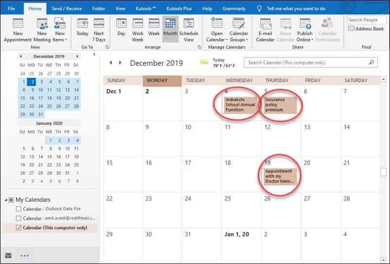 To do calendar outlook