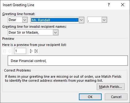 Insert greeting line