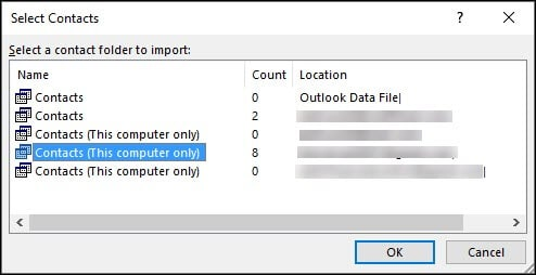 select contact outlook