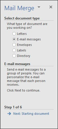 which button do you click to use the mail merge Wizard