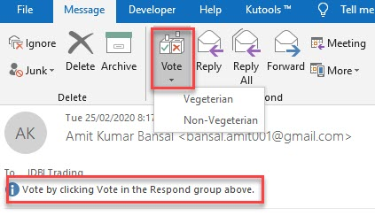 How to respond to vote in outlook