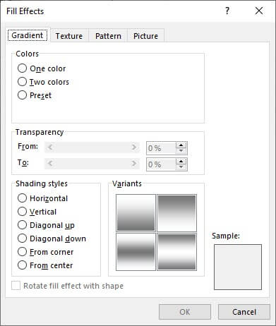 fill effects dialog box
