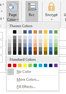 page color outlook