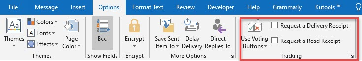 tracking button in outlook