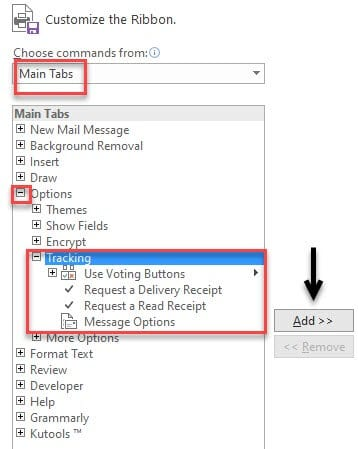 tracking option in outlook