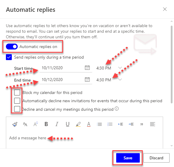 Automatic reply on outlook web
