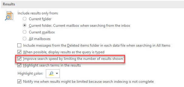 Improve search speed by limiting the numbers of results shown