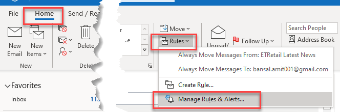 Manage Rules & Alerts Out of office rules