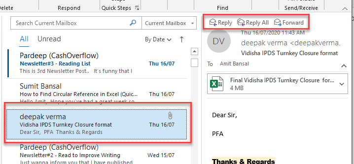 attaching email in outlook