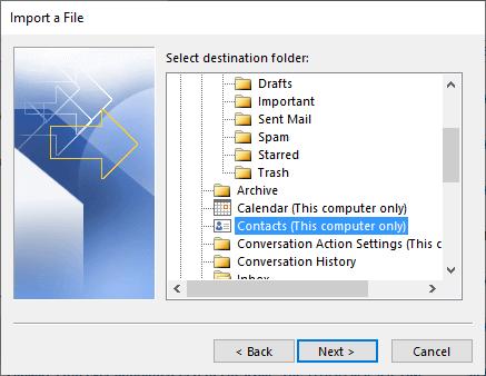 create an Outlook folder