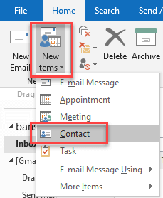 create new contact in outlook