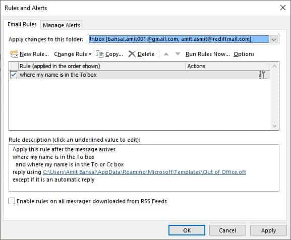 how to activate auto reply in outlook