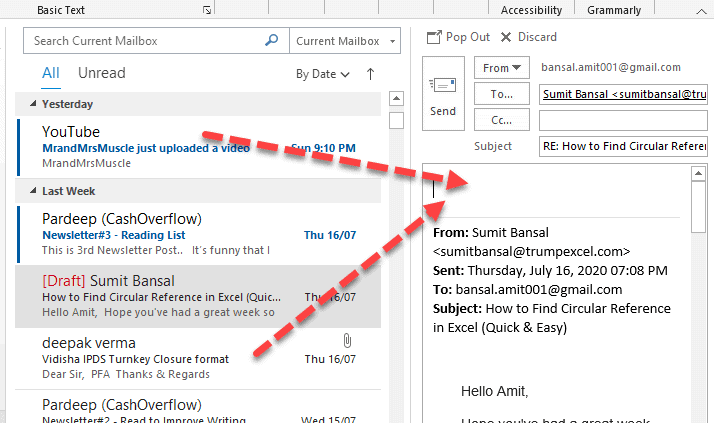 in outlook how to attach an email to another email