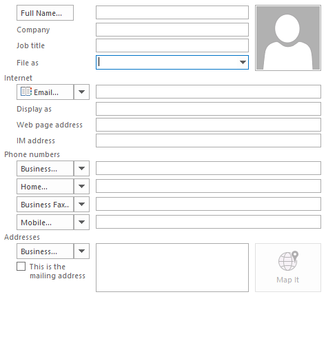 new contact form outlook
