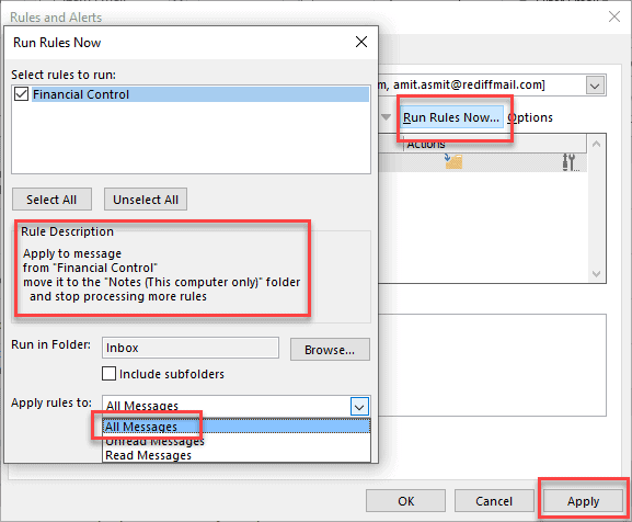 setting up rules in outlook