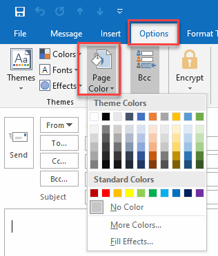 How to change background color in Outlook