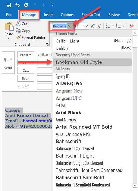 How to change font size in Outlook