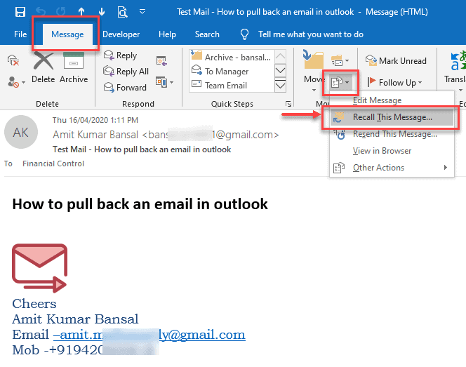How to pull back an email in outlook