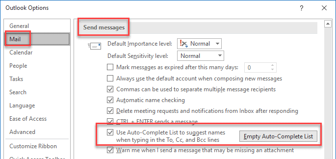 Outlook autocomplete not working