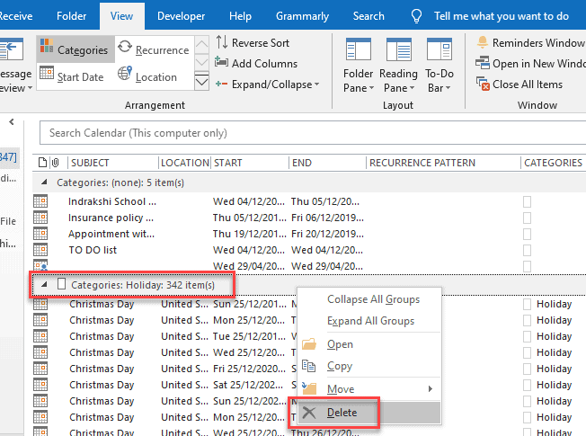 Remove all holiday entries from a calendar