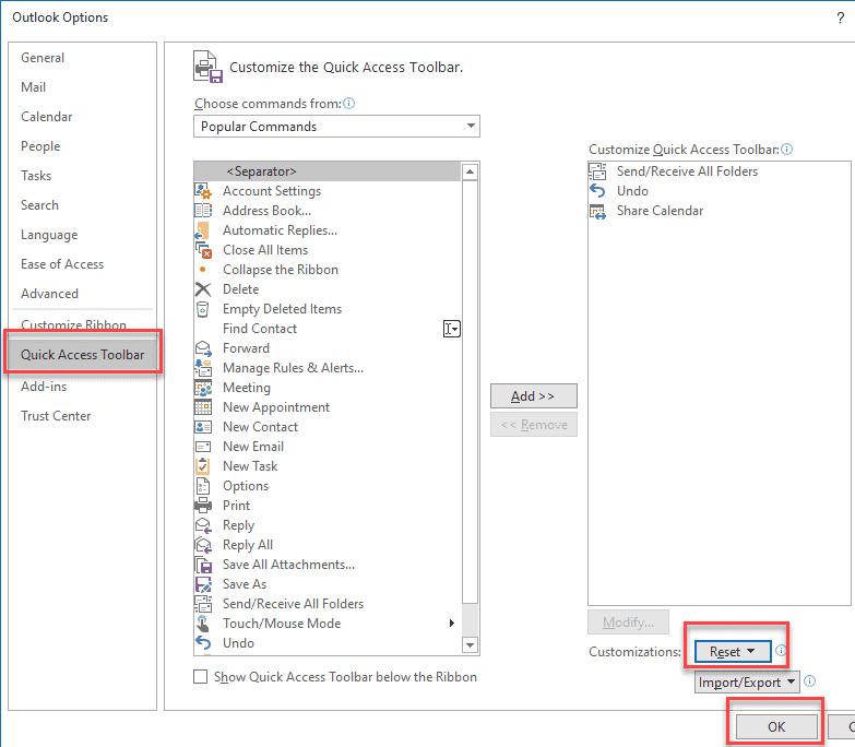 What is error custom UI XML Outlook