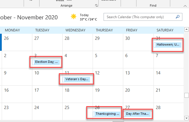 add holidays to public calendar in outlook