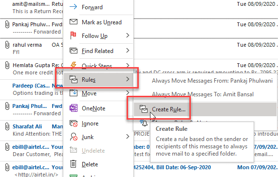 create outlook email notification rules