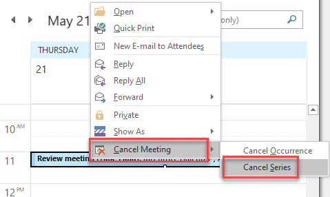 how to cancel a meeting in outlook