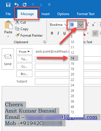 how to increase font size in outlook