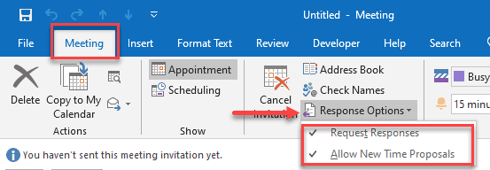 response options outlook