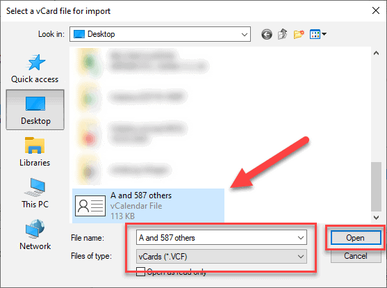 select a vcard file for import
