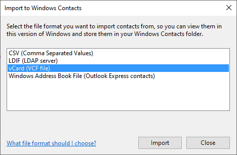 windows mail export contacts