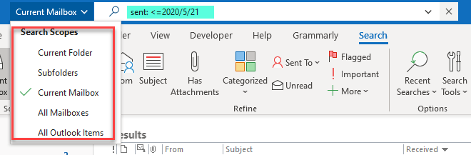 Find Email in Outlook for specific date range using symbol