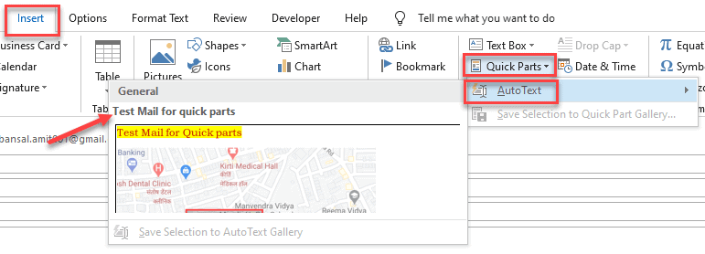 How to edit quick parts gallery in outlook