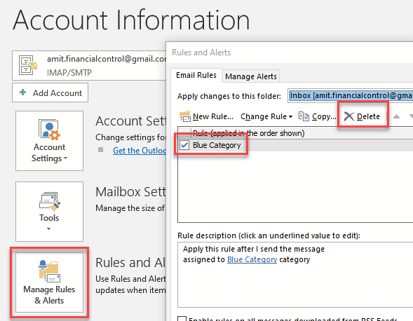 How to fix errors in outlook rules