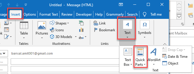Where is quick parts in Outlook