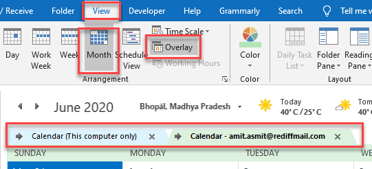 outlook merge calendars