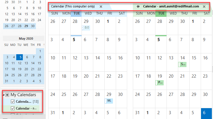 outlook overlay calendars