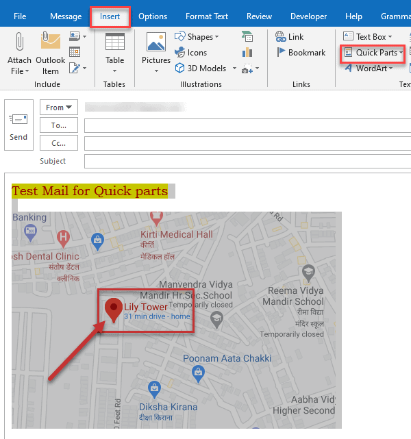 outlook quick parts location